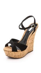 Schutz Emiliana Platform Wedge Sandals Black