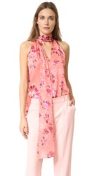 Prabal Gurung Tie Neck Blouse Melon Floral