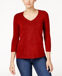 Karen Scott Petite V Neck Sweater Only At Macy's Red Cherry