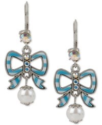 Betsey Johnson Silver Tone Imitation Pearl Striped Bow Drop Earrings