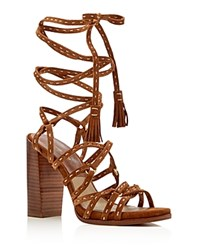 Michael Kors Rowan Lace Up High Heel Sandals Luggage