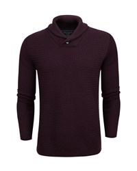 Ted Baker Heynow Basket Stitch Shawl Neck Jumper Purple