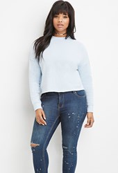 Forever 21 Plus Size Raw Cut Pullover Light Blue