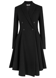 Givenchy Black Double Breasted Flared Wool Coat