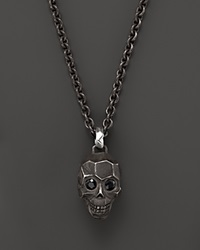 John Hardy Men's Classic Chain Silver Skull Enhancer On Chain Necklace With Black Sapphire Silver Multi