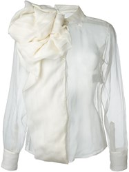 Christian Dior Vintage Silk Blouse White