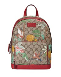 Gucci Gg Supreme Tian Canvas Backpack Beige Red B.E.M Ro N
