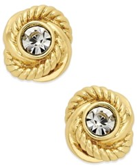 Kate Spade New York Infinity And Beyond Gold Tone Crystal Knot Stud Earrings
