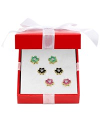 Victoria Townsend Trio Set Of Diamond Accented Ruby 1 4 5 Ct. T.W. Emerald 1 3 10 Ct. T.W. And Sapphire 1 4 5 Ct. T.W. Flower Stud Earrings In 18K Gold Plated Sterling Silver Yellow Gold