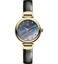 Vivienne Westwood Vv128gdbk Leather And Mother Of Pearl Hampton Watch Black