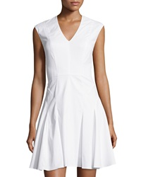 Rebecca Taylor Sleeveless Woven Fit And Flare Dress Chalk