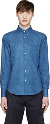 Naked And Famous Blue Printed Slim Shirt