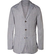 Faconnable Blue Prince Of Wales Check Mohair Linen And Silk Blend Blazer