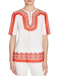 Tory Burch Isla Embroidered Tunic White