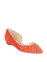 Ivanka Trump Tappin 2 Studded Suede D'orsay Flats Medium Red