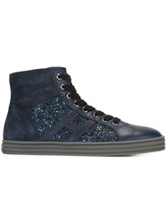 Hogan Rebel Sequin Embellished Hi Top Sneakers Blue