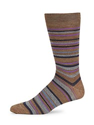 Saks Fifth Avenue Stripe Wool Blend Socks Brown