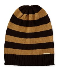 Michael Michael Kors Striped Ribbed Trim Slouchy Hat Chocolate