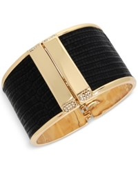 Kenneth Cole New York Gold Tone Faux Leather Pave Hinged Bangle Bracelet Black