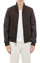 Golden Bear Tweed And Leather Bomber Jacket Green
