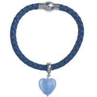 Martick Bohemian Glass Heart Woven Leather Bracelet Blue