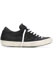 Philippe Model Distressed Lace Up Sneakers Black