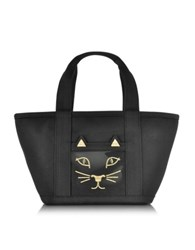 Charlotte Olympia Feline Ami Kitty Black Canvas Tote Bag