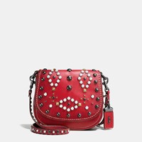 Coach Western Rivets Saddle Bag 17 In Glovetanned Leather Red