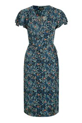 Topshop Tall Ditsy Floral Wrap Dress Blue