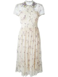 Red Valentino Wisteria Pattern Day Dress Nude And Neutrals