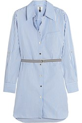 Topshop Unique Dorney Striped Cotton Poplin Shirt Dress Blue