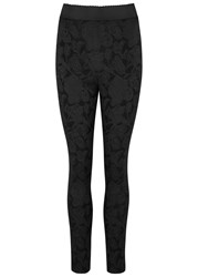 Dolce And Gabbana Black Floral Jacquard Leggings
