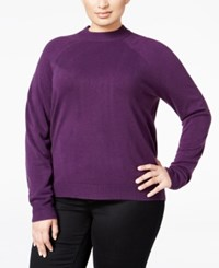 Karen Scott Plus Size Cashmelon Luxsoft Mockneck Sweater Only At Macy's Purple Dynasty