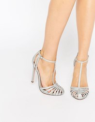 Asos Peace Caged High Heels Silver