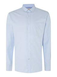 T.M.Lewin Plain Slim Fit Long Sleeve Button Down Shirt Blue