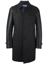 Junya Watanabe Comme Des Garcons Man Leather Effect Sleeve Textured Coat Black