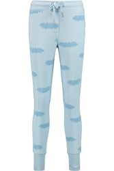 Zoe Karssen Printed Cotton Blend Jersey Track Pants Blue