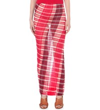 Stella Mccartney Checked Cotton Skirt Lily Cherry Red Berry