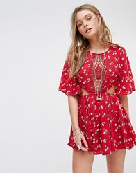 Kiss The Sky Festival Playsuit In Disty Flower Print Red