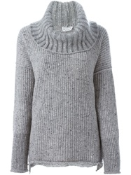 Sonia Rykiel Chunky Knit Turtle Neck Sweater Grey