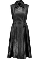 Acne Studios Levice Pleated Leather Dress Black