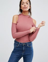 New Look Cold Shoulder Long Sleeve Top Wild Rose Marl Pink
