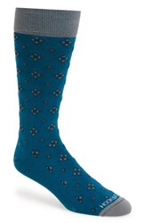 Men's Hook Albert Geo Pattern Socks Blue Manill Blue