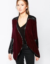 Wal G Cardigan With Waterfall Front And Pu Details Red