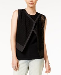 Armani Exchange Mesh Open Front Vest Solid Black