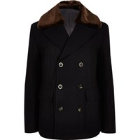 River Island Mens Navy Faux Fur Collar Pea Coat