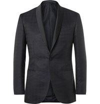 Brioni Blue Silk And Wool Blend Houndstooth Jacquard Tuxedo Jacket Navy