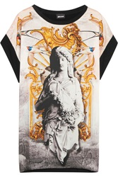 Just Cavalli Printed Satin And Stretch Jersey Top