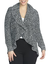 Chaus Drape Front Cable Stitch Cardigan Black White