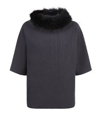 Fabiana Filippi Fox Fur Ribbed Sweater Female Dark Grey